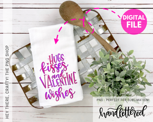 Hugs Kisses and Valentine Wishes | PNG File