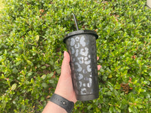 Load image into Gallery viewer, Glitter Black Leopard Cold Cup
