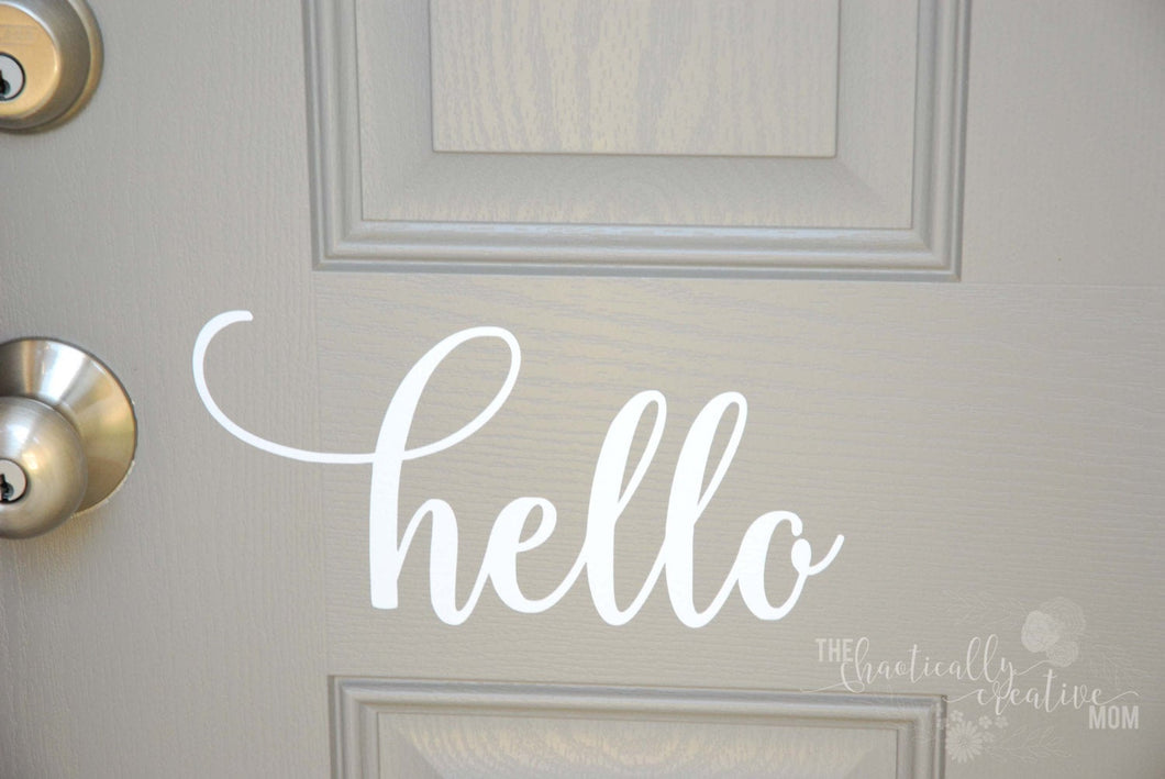 Hello Front Door Decal, Hello Front Door Sticker, Hello Vinyl Decal, Hello Vinyl Sticker Hello Sticker, Hello Decal, Ready to Ship