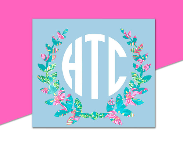 Circle Monogram Decal // Patterned vinyl decal, patterned vinyl monogram, laurel monogram, girly monogram FREE SHIPPING!