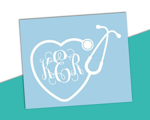 Heart Stethoscope Monogram Decal