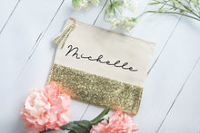 Load image into Gallery viewer, Customized Gold Glitter and Canvas Makeup Bag