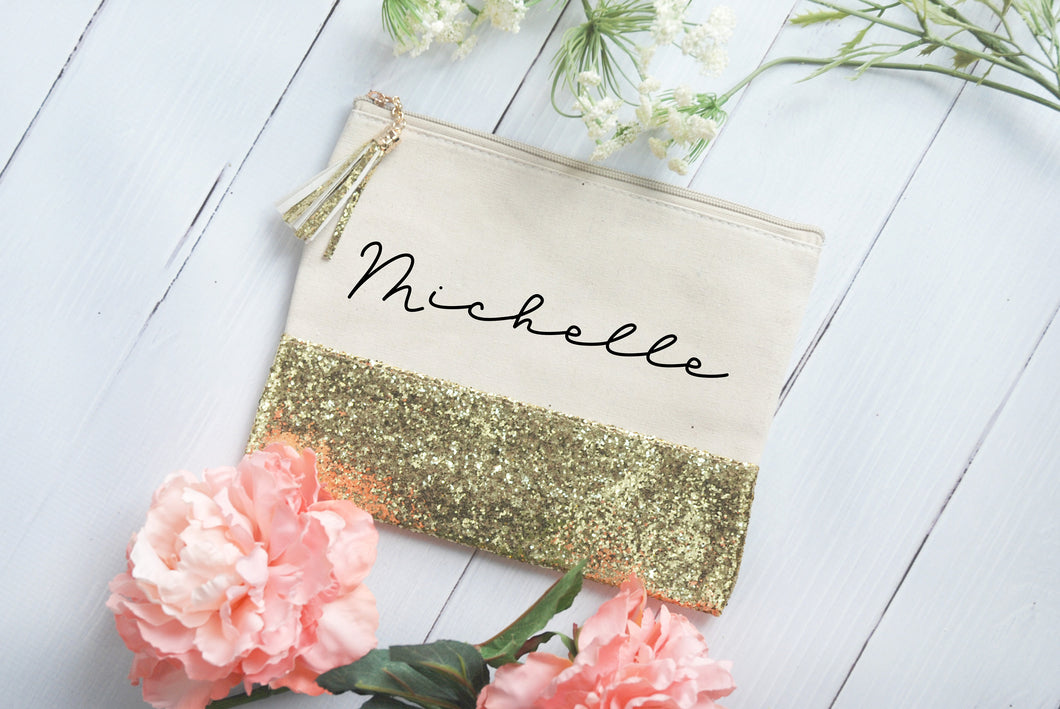 Customized Gold Glitter and Canvas Makeup Bag