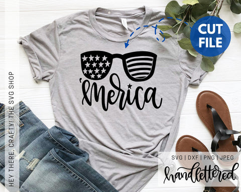 Merica with Glasses | SVG, PNG, DXF, JPEG