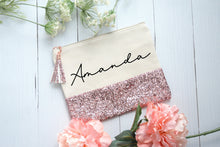 Load image into Gallery viewer, Customized Rose Gold Glitter and Canvas Makeup Bag