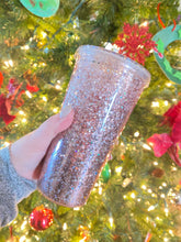 Load image into Gallery viewer, Rose Gold Glitter Snow Globe Tumbler