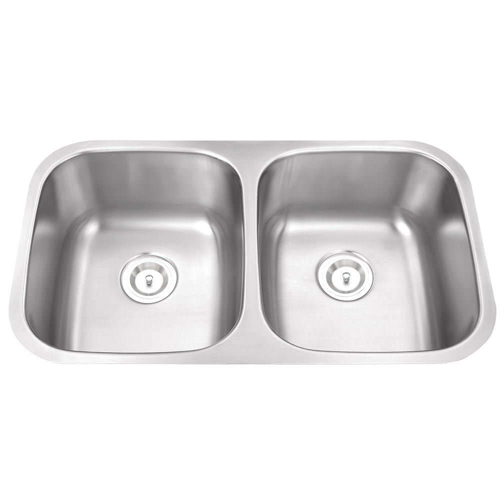 Stainless Steel Double Basin Sink, Rounded