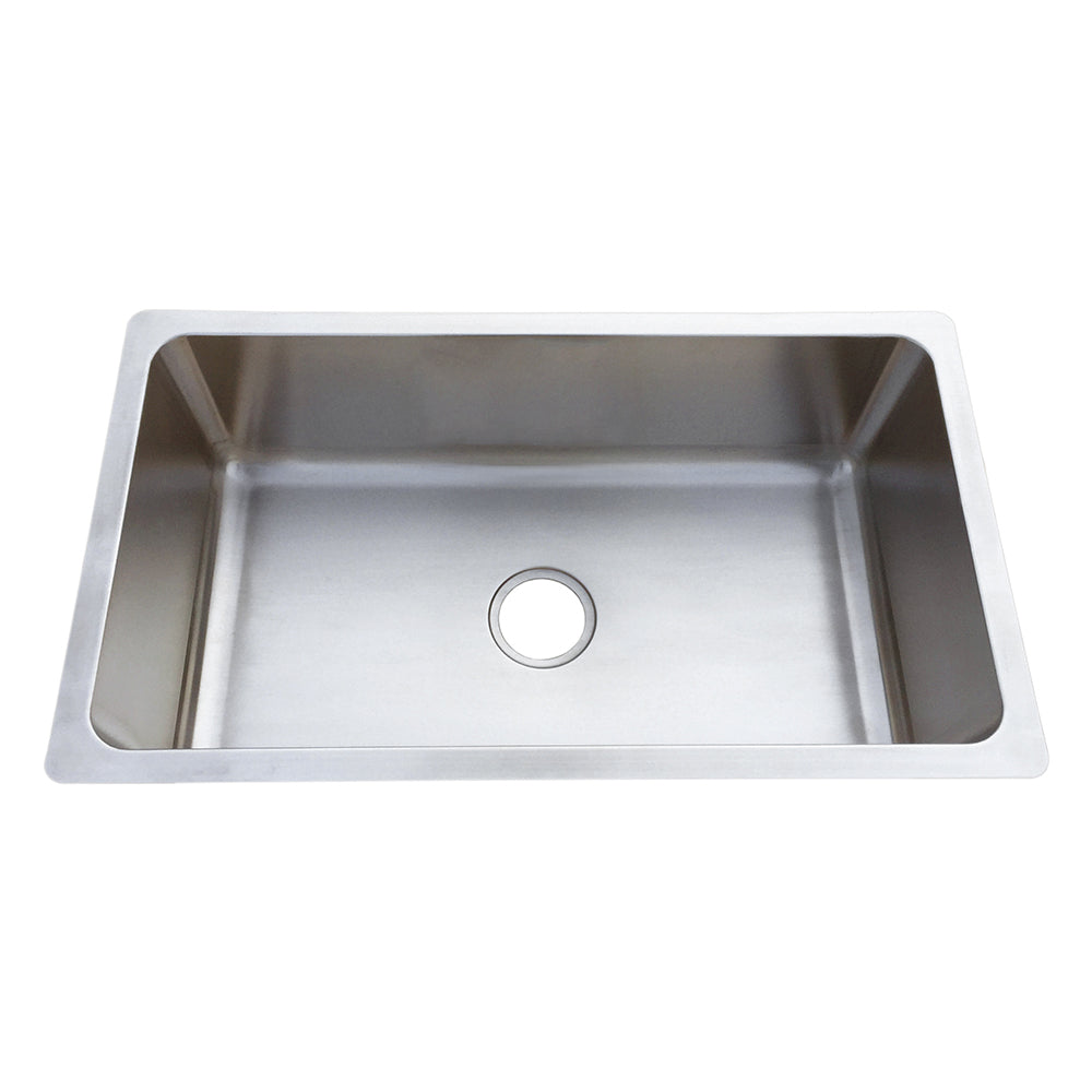 Stainless Steel Single Basin Sink, Squared