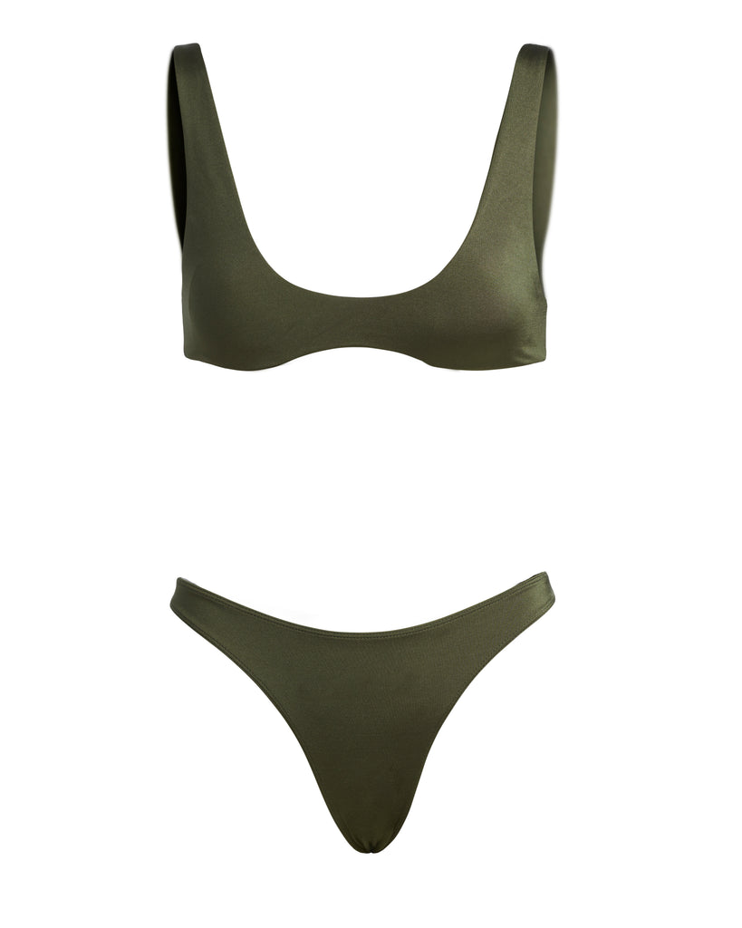 showing the front of an army green bikini