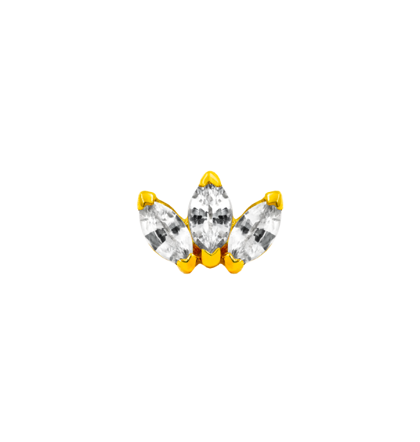Triple Marquise (CZ) in Yellow Gold
