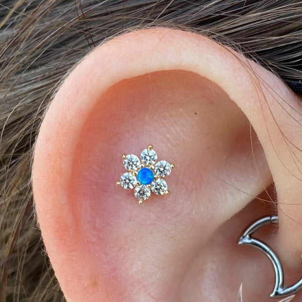 Gold Flower with Swarovski and Blue Opal