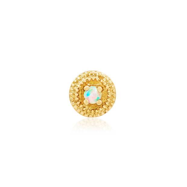 Round Double Millgrain with Opal - Junipurr Jewelry