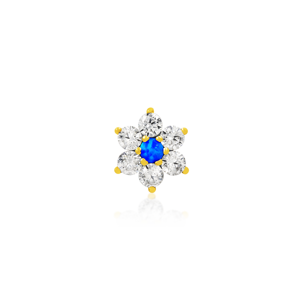 Gold Flower with Swarovski and Blue Opal - Junipurr Jewelry