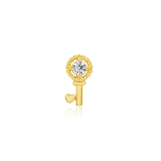 Gold Key with Heart with Swarovski CZ - Junipurr Jewelry