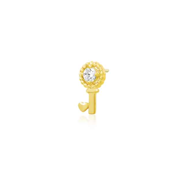 Gold Key with Heart with Swarovski CZ
