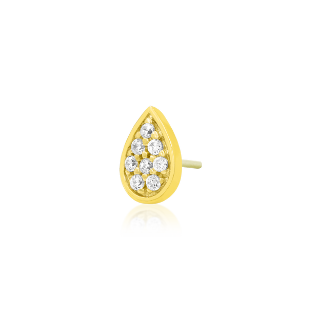 Gold Pear with Swarovski CZ Stones