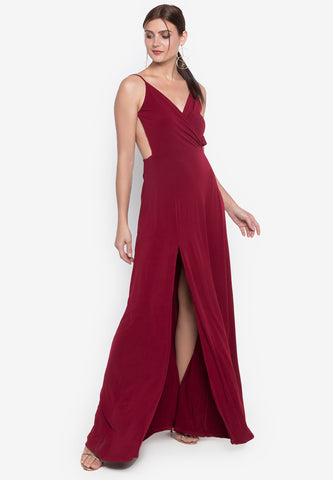 Monica Wrapped Backless Long Dress