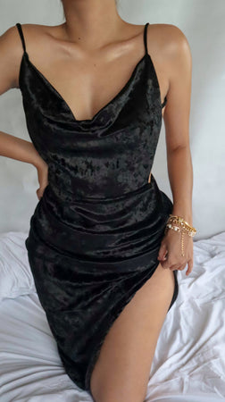 Come Thru Drapin' Asymmetric Backless Dress in Velvet