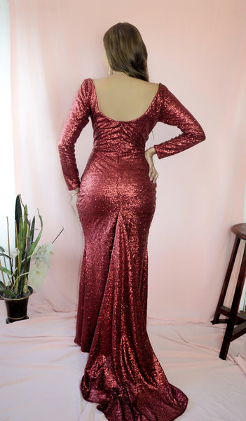 Center Stage Squareneck Longsleeved Mermaid Maxi Dress