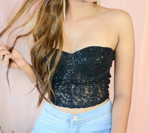 After Party Lace Sequined Bustier Croptop