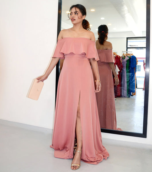 Allure Off-the-Shoulder Ruffled Hem Maxi Dress