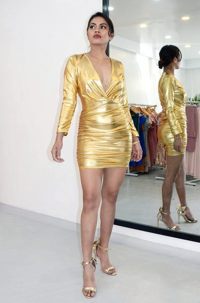 Trophy Girlfriend Metallic Wrap Dress