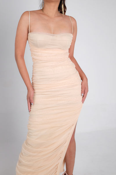 Sheer Perfection Bustier Ruched Maxi Dress