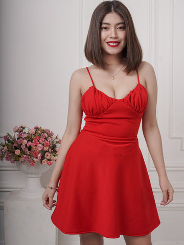 Cenza Bustier Ruched Mini Dress in Red