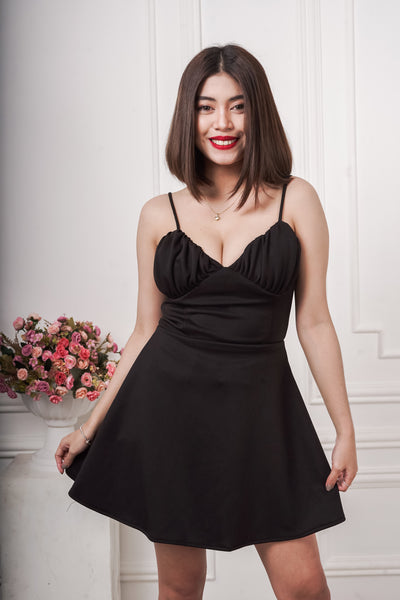 Cenza Bustier Ruched Mini Dress in Black
