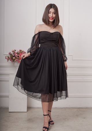 Shellin Bustier Tea-Length Dress in Black