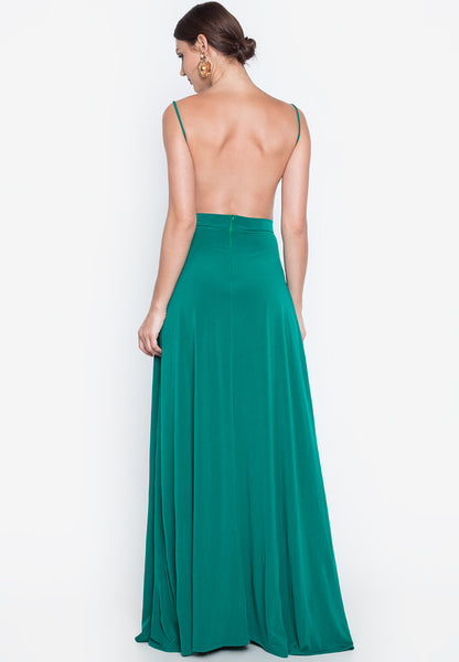 Fritzell Cowl Neck Backless Maxi Dress