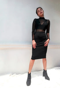 Devon Longsleeved Mesh Dress