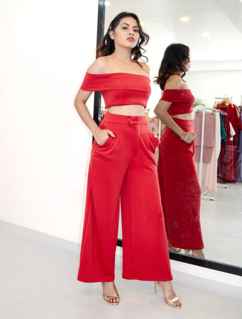 Oh Honey Off-the-Shoulder Croptop Pants Set
