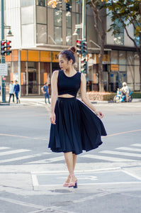 Wrap Croptop Pleated Skirt Set