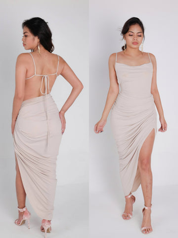 Come Thru Drapin' Asymmetric Backless Dress