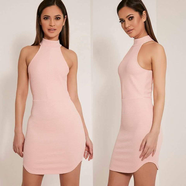 Halter Turtleneck Curved Hem Mini Dress