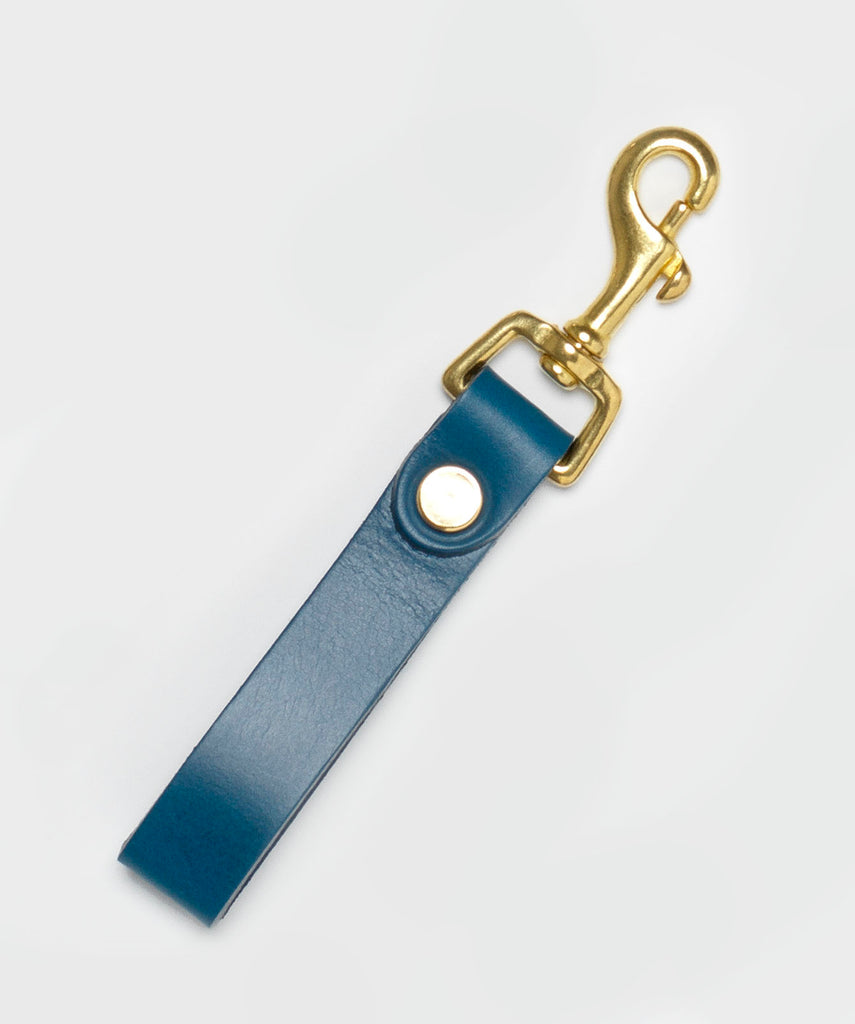 The Equestrian Keyring with Brass Hardware in Peacock