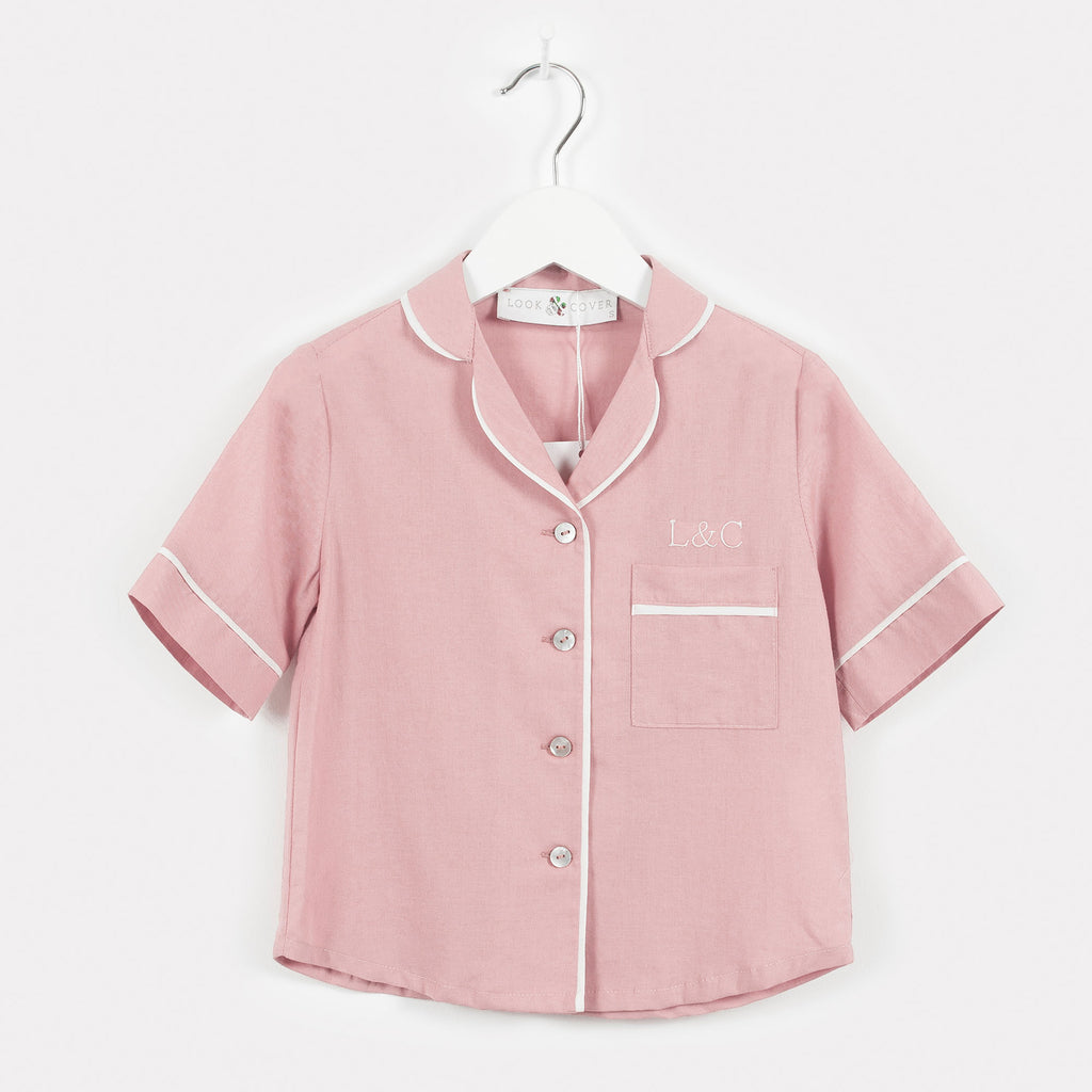 Blossom Pink Monogrammed Children's Pyjamas | Look & Cover