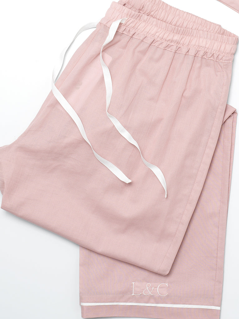 Blossom Pink Luxury Monogrammed Women's Pyjama Bottoms | Look & Cover