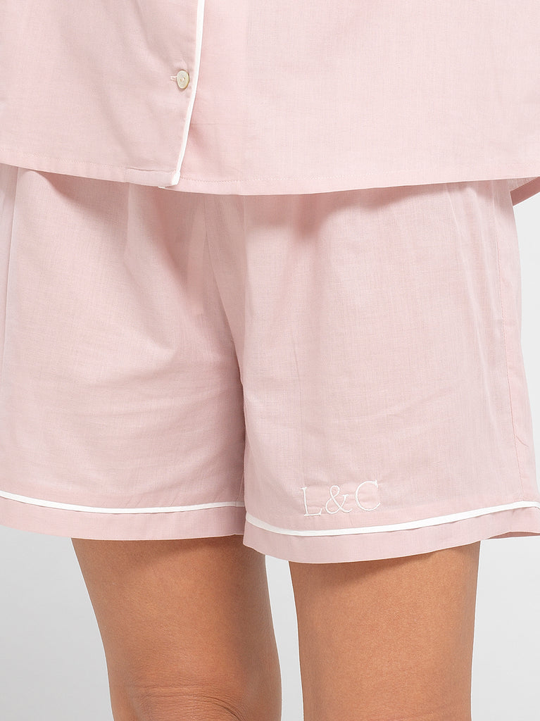 Blossom Pink Luxury Monogrammed Women's Pyjama Shorts | Look & Cover