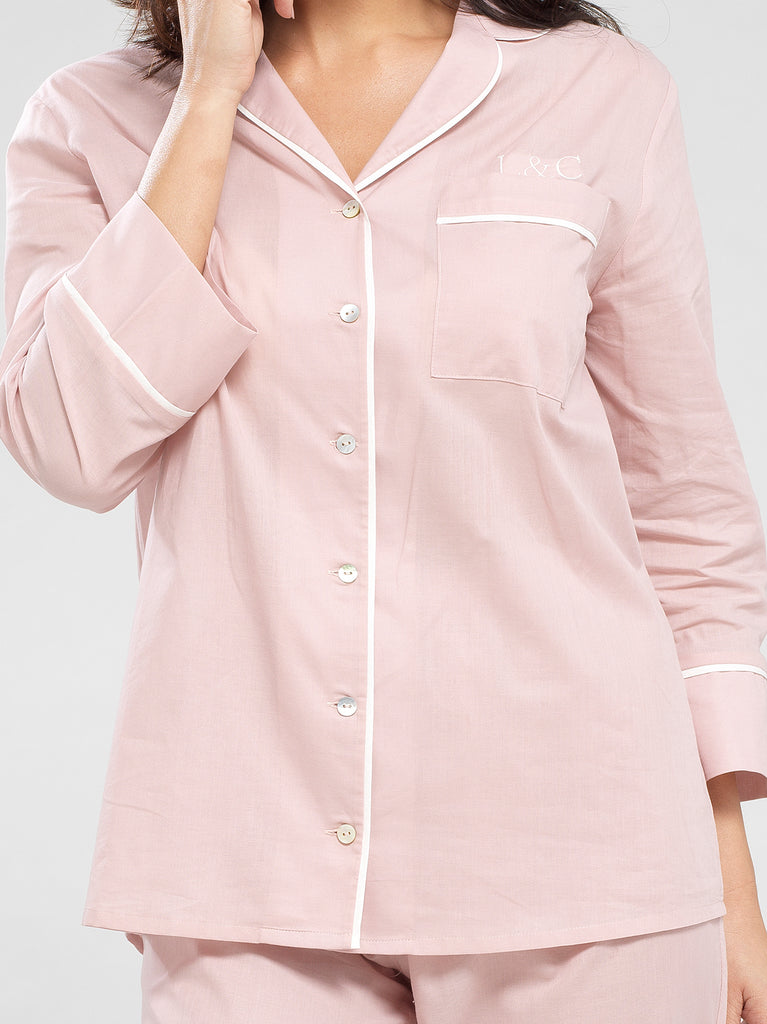 Blossom Pink Luxury Monogrammed Women's Pyjama Shirt | Look & Cover