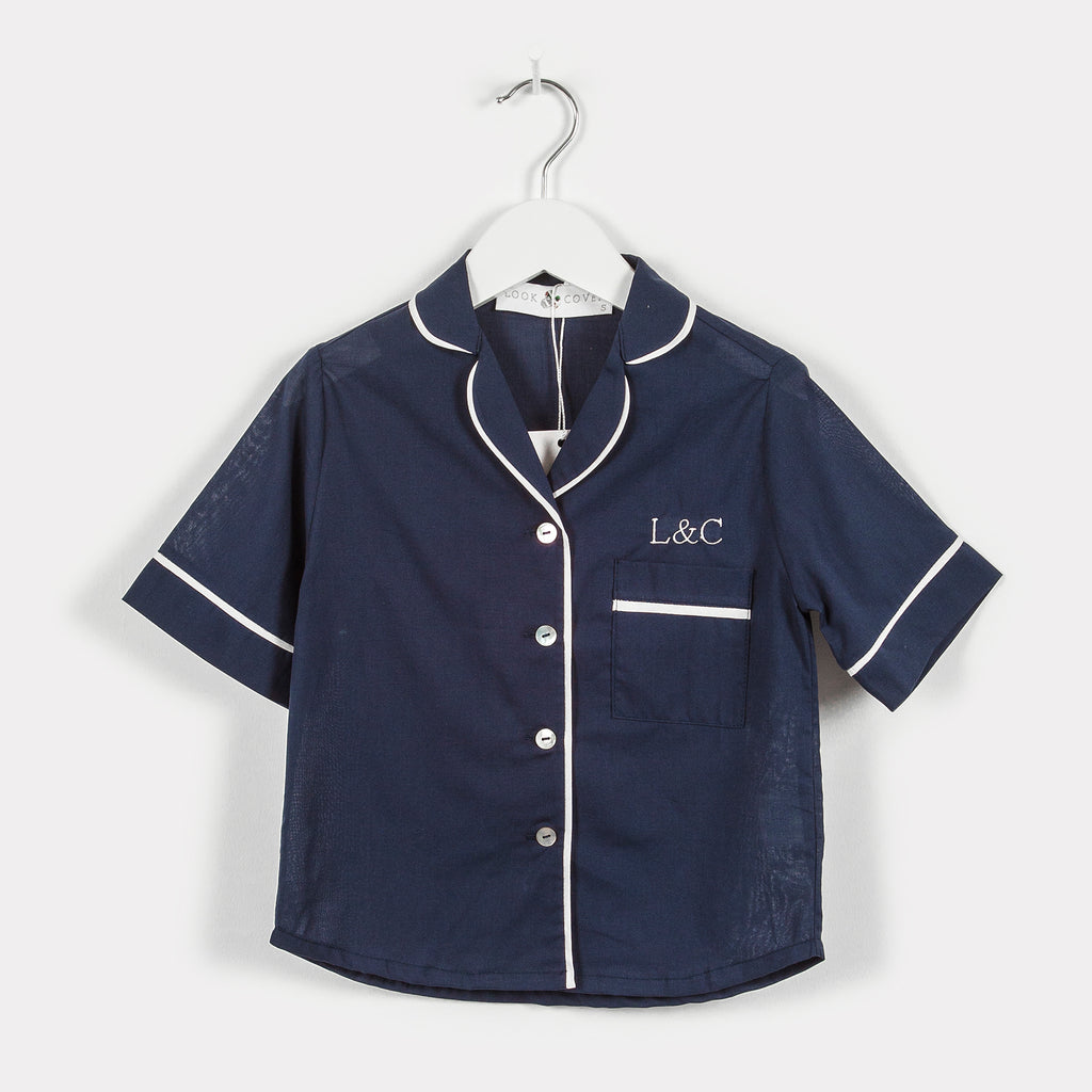 Midnight Blue Luxury Monogrammed Children's Pyjamas | Look & Cover