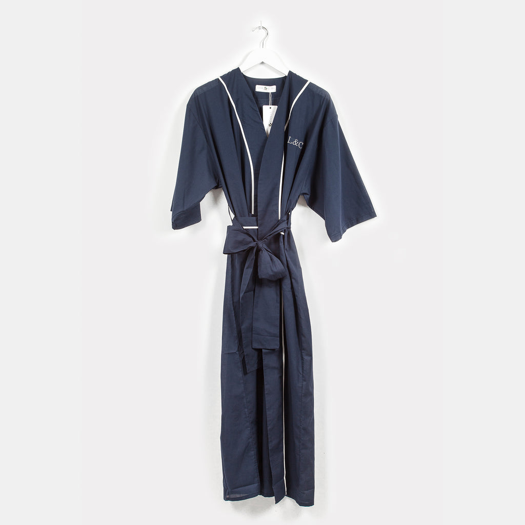 Classic Navy Luxury Monogrammed Women's Dressing Gown