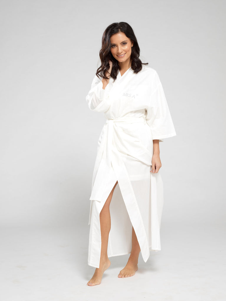 Cloud White Luxury Monogrammed Women's Dressing Gown | Look & Cover