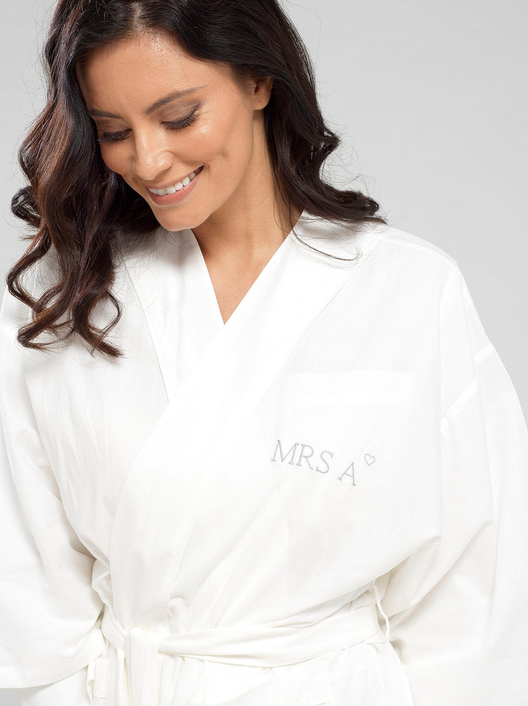 Cloud White Luxury Monogrammed Women's Bridal Dressing Gown | Look & Cover