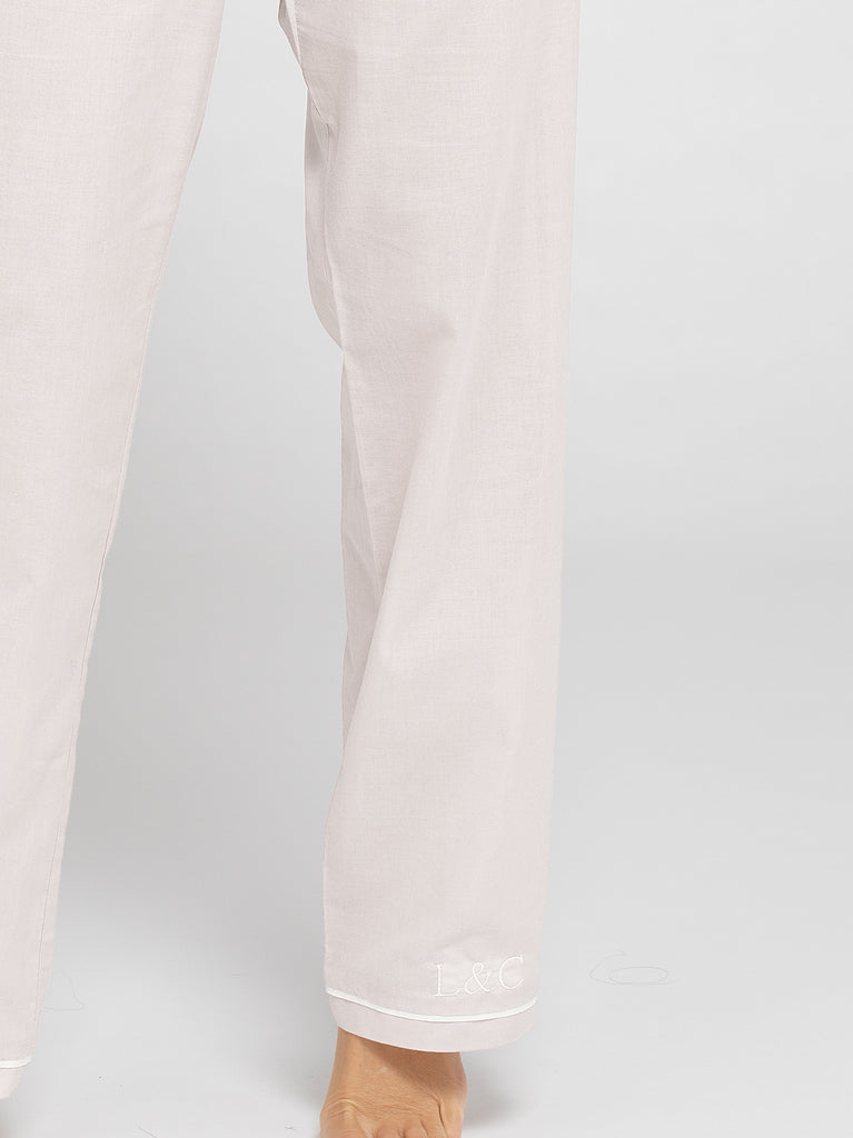 Cloud White Luxury Monogrammed Women's Pyjama Bottoms | Look & Cover