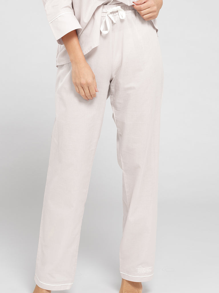 Cloud White Luxury Monogrammed Women's Bridal Pyjama Bottoms | Look & Cover