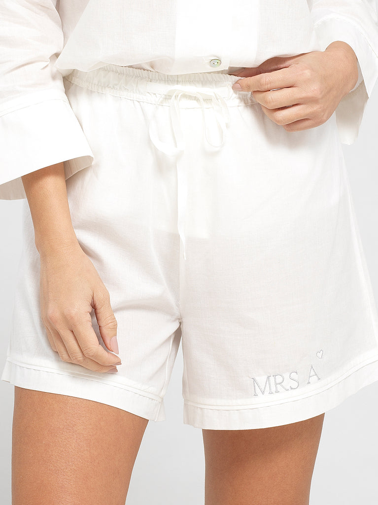Cloud White Luxury Monogrammed Women's Bridal Pyjama Shorts | Look & Cover
