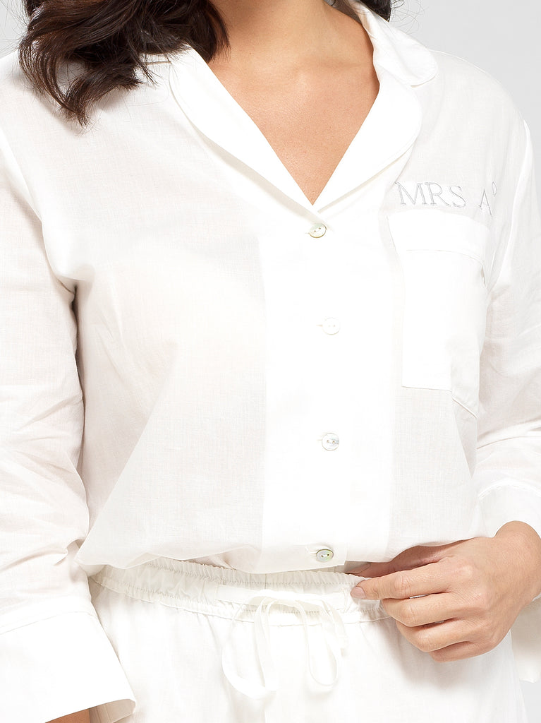 Cloud White Luxury Monogrammed Women's Bridal Pyjama Shirt | Look & Cover