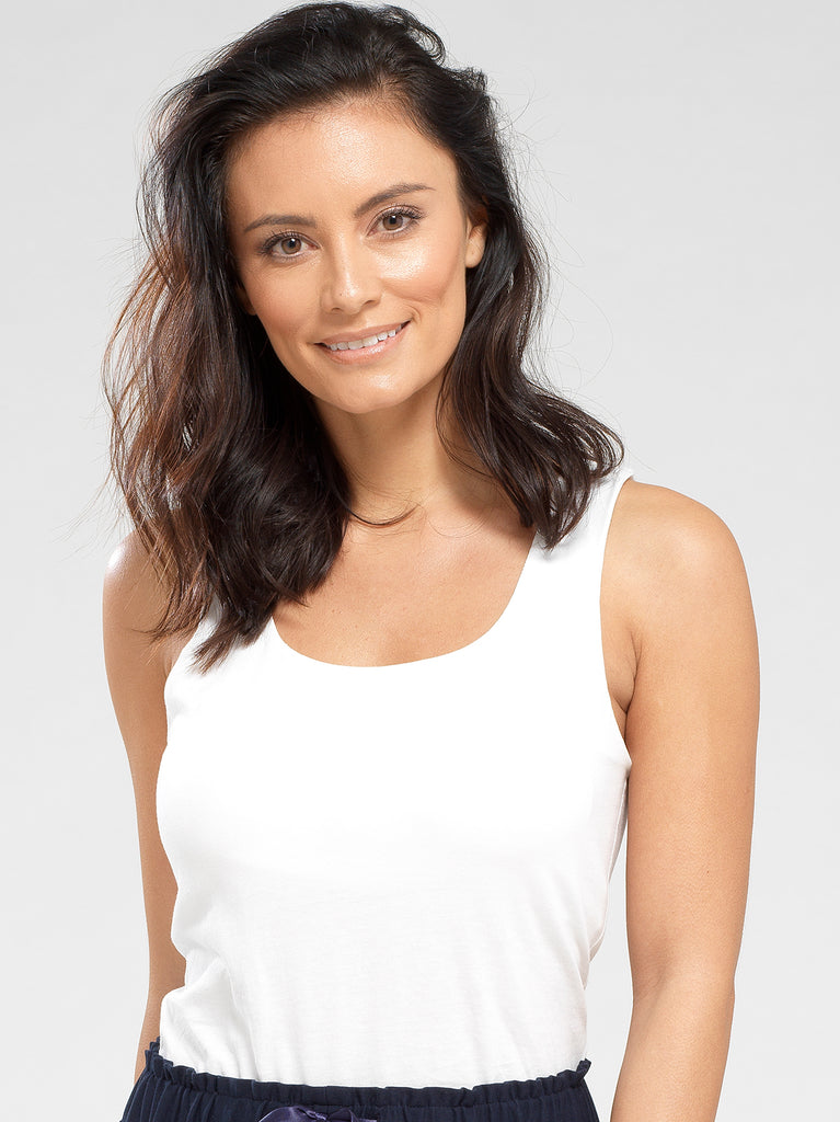 Women's Loungewear Perfect White Tank With Built In Bra Shelf